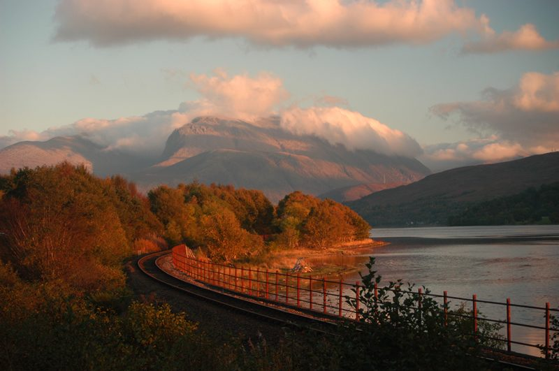view of Ben Nevis from West Highland line